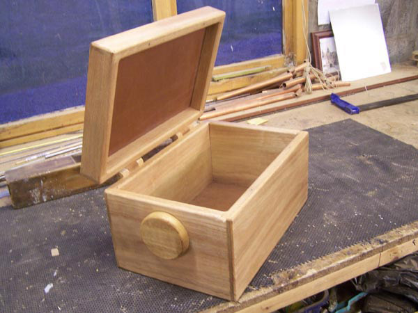 Deep handcrafted wooden box