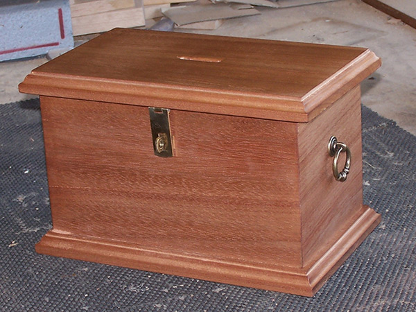 Handcrafted wooden collection box in red meranti hardwood