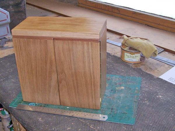 Handcrafted wooden box with doors